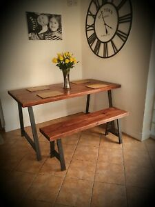 Industrial A frame dining table and bench set- solid wood-Rustic- vintage-steel