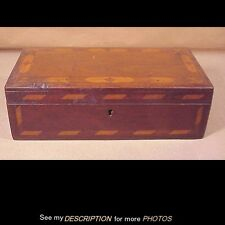 Antique 1880-1900 Inlaid Walnut Document / Jewelry / Writing Box