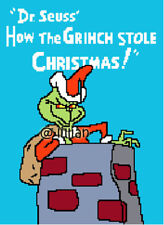 DR SEUSS HOW THE GRINCH STOLE CHRISTMAS ON TOP ROOF Cross Stitch PATTERN