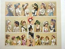 Costume féminin Chapeau CHROMOLITHOGRAPHIE ORIGINALE 19e Racinet GRAVURE MODE