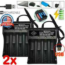 2 Packs USB 4 Slots Battery Charger Smart Charging For Rechargeable Batteries US