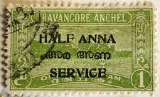 INDIA TRAVANCORE ANCHEL STAMP STAMPED HALF ANNA SERVICE 1CH CHUCKRAMS GOOD COND