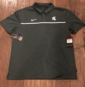 Nike Michigan St. Men's Large Green Dri-Fit PoloShirt $75 CN7854-330 Team Issue