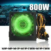 800W PC Power Supply 24 Pin PCI ATX SATA Computer 120mm Silent LED