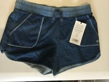 NWT Womens 90 DEGREE BY REFLEX Denim Blue Knit Lounge Shorts Sz Large