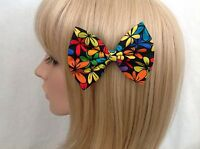 Bright floral hair bow clip rockabilly pin up girl retro vintage flower cute