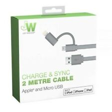 Inalámbrico 2in1 Apple Lightning & Just Micro USB Cargador Cable iPhone/Samsung/Sony