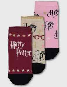 Ladies HARRY POTTER OFFICIAL Shoe Liner Socks 3 pack UK 4-8 EU 37-42