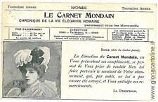 CARTOLINA d'Epoca: ROMA - PUBBLICITARIA: CARNET MONDAIN