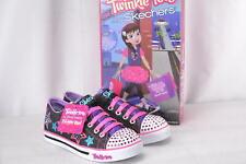 Youth Girl's Skechers S Lights Sparkle Glitz Twinklerella Sneakers Black/Multi