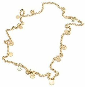 Tory Burch Women's Pearl Multi Logo Charm Rosary 16K Gold Plated Necklace