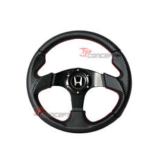 320mm Steering Wheel Black Carbon Fiber PVC Leather Red Stitch w/Silver H Emblem