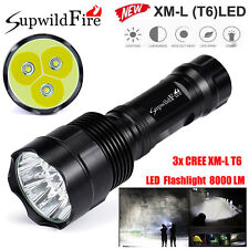 SupwildFire 8000Lm 3x CREE XM-L T6 LED Flashlight 5-Mode 18650 Torch Light Lamp
