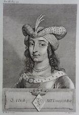 Gravure Antique print ADA XIIe Comtesse de Hollande Flipart Count of Holland