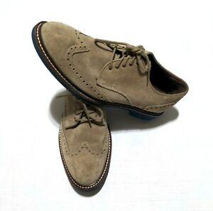 Cole Haan Mens 8 M Blue Sole Beige Wing Tip Shoes EUC