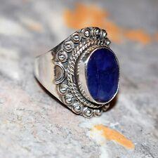 Sfaccettato Blu Zaffiro 925 Etnico Argento Anello Taglia Q 1/2 ~ 8 1/2 - Indiano
