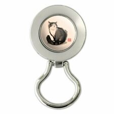 Cat Traditional Chinese Ink Painting Magnetic Metal Eyeglass ID Badge Holder