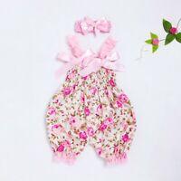 Toddler Baby Girls Flower Romper Bowknot Bodysuit Jumpsuit+Headband Set Outfits