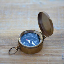 Small Compass Pendant w/ Closing Lid, Glass Face, Antique Brass, Vintage Style