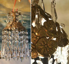 SWAG Lamp hanging Spelter Pond water Lily crystal chandelier Vintage Hollywood