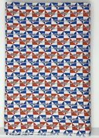 Vtg Nautical Rope Sailor's Knots Red White Blue 7 1/2 yards Uncut 1940's Fabric