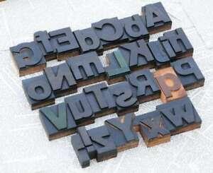 "A-Z alphabet 2.13"" letterpress wooden printing blocks wood type vintage print"