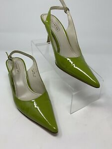 Coach ALENA Pointed Toe Sling Back Patent Leather Pumps Green Sz 7.5B