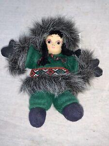 Arctic Kids Sandbag Eskimo Doll Porcelain Handpainted Face Green & Black Clothes