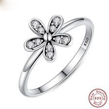 925 Silver Ring Daisy Flower Women Men White Topaz  Wedding Engagement Size 5-10