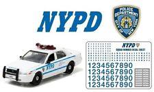 NYPD Ford Crown POLICE Interceptor 2011 + Decals /Aufkleber *Greenlight 1:64 NEU