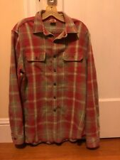 Tailor Vintage Reversible Plaid Flannel Button Down Shirt Size L Red Green