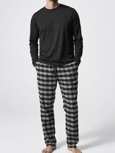 MENS size M Black grey check Jersey pj top flannel pants pyjamas Target pjs NEW