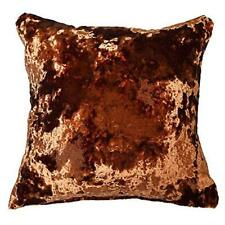 """THICK CRUSHED VELVET UK MADE COPPER ORANGE RUST SPICE 17"""" CUSHION COVER £8.99 EA"""