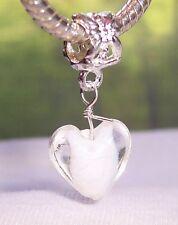 Heart White Clear Murano Glass Dangle Charm for European Bead Slide Bracelets
