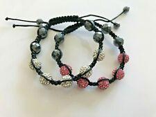 Shamballa Bracelet Lot Of 2 Crystal Ball White Pink Adjustable