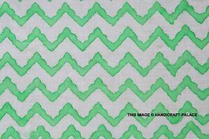 Hand Block Print Green On White 100% Cotton Women Dress Material Craft Fabric