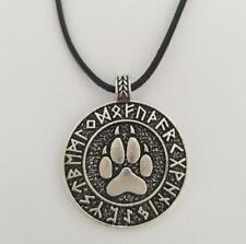 Celtic Wolf Paw Pendant Necklace Viking Rune Amulet Braided Leather Long Silver