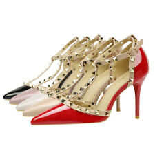 MAKEGSI Womens Pointy Toe Stud Strappy Ankle T-Strap Stiletto Heel Pump Sandal