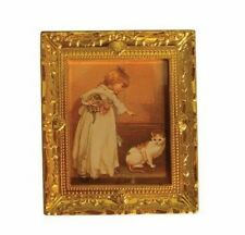 Picture of Girl & Cat, Dolls House Miniature, Wall Decor, Framed Wall Picture
