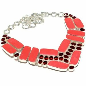 "Sponge Coral- Italy, Garnet Gemstone Handmade 925 Silver Jewelry Necklace 18"""