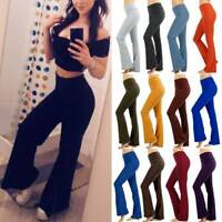 Womens Drawstring Cotton Spandex Yoga Comfy Foldover Athletic Gym Pants Trousers