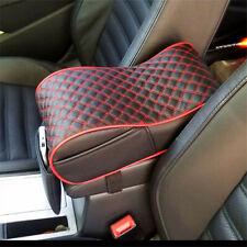 UK Universal Black /Red Plaid Armrest Box Mats Armrest Top Mat Liner PU Leather