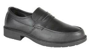 Grafters Leather Steel Toe Cap Uniform Managers Black Slip On Safety Shoes