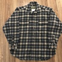 VTG Field & Stream Blue Checkered Plaid Heavy Cotton Flannel Shirt Sz Large