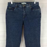 TRIBAL womens size 10 stretch blue medium wash mid rise straight leg denim jeans