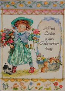 LISI MARTIN - Kind mit Blumenstrauss u. Kätzchen SCHWEDEN - 1984