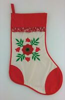 Vintage HOUSE of HATTEN Embroidered Applique with Ruffle Christmas Stocking
