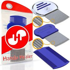 Head Lice Comb Set for Fast Nit and Lice Treatment. Best Results on all Diffe...