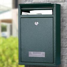 Cassetta Postale Parete in Acciaio Buca Lettere Posta Esterno con Chiave Verde