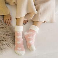 Ladies Heart Warm Winter Bed Cosy Lounge Soft Floor Fluffy Socks Slipper Fleece